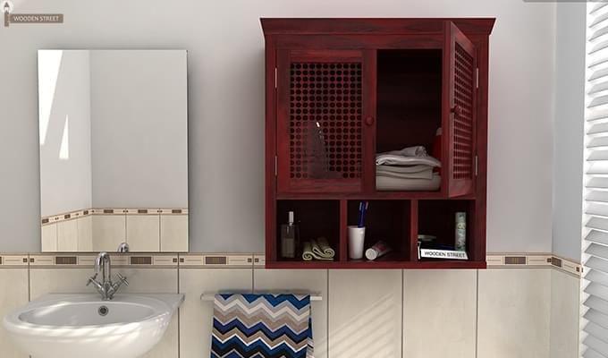 Shea Bathroom Cabinet (Mahogany Finish)-1