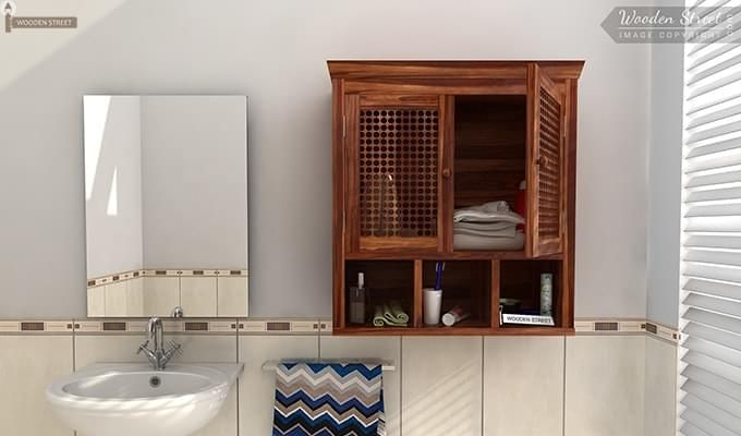 Shea Bathroom Cabinet (Teak Finish)-1