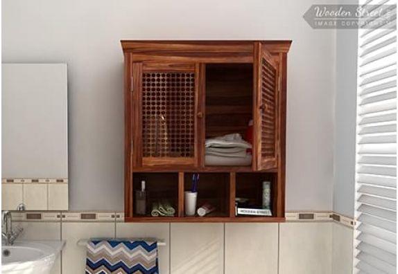 Buy wooden bathroom cabinet with mirror in Mumbai, Bangalore, Delhi