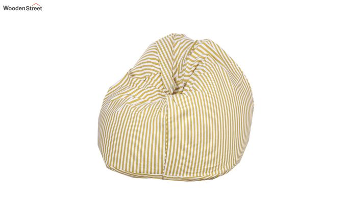 White and Yellow Strips Organic Cotton Bean Bag Cover-1