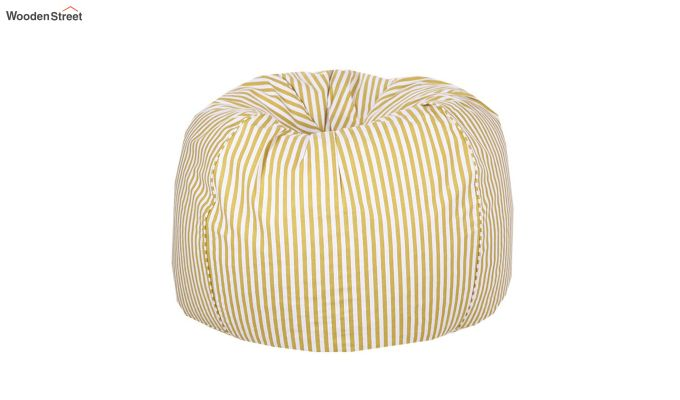 White and Yellow Strips Organic Cotton Bean Bag Cover-2