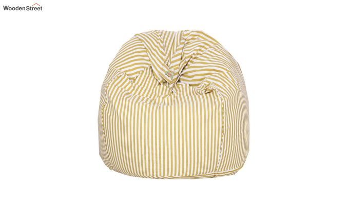 White and Yellow Strips Organic Cotton Bean Bag Cover-3