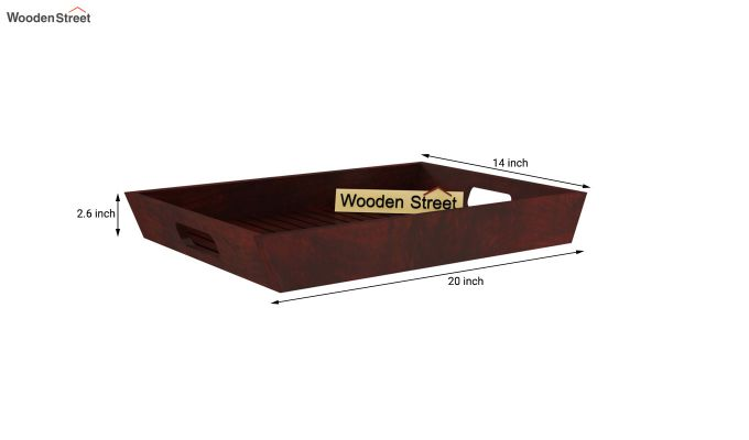 Krato Wooden Tray (Mahogany Finish)-6