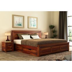 Adolph Bed With Side Storage (Queen Size, Honey Finish)