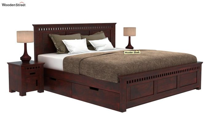 Adolph Bed With Side Storage (Queen Size, Mahogany Finish)-1