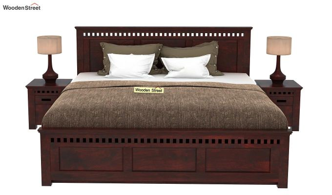 Adolph Bed With Side Storage (Queen Size, Mahogany Finish)-2