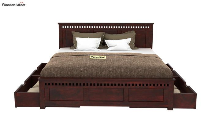 Custom shivanand Adolph Bed With one Side Storage rest side open (King Size, Mahogany Finish)-4