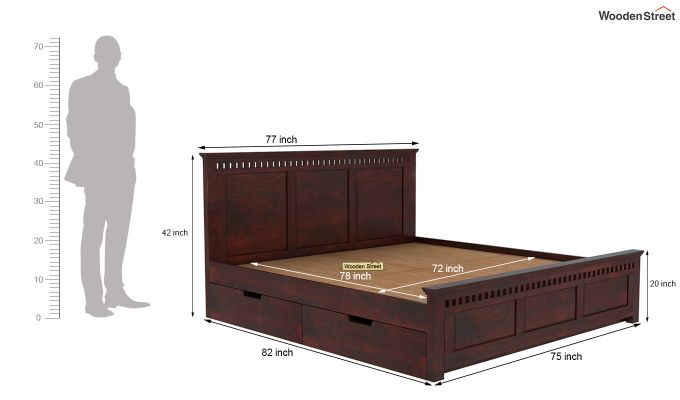 Adolph Bed With Side Storage (King Size, Mahogany Finish)-6