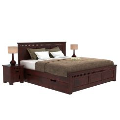 Adolph Bed With Side Storage (Queen Size, Mahogany Finish)