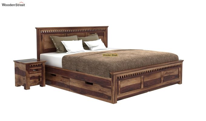 Adolph Bed With Side Storage (Queen Size, Teak Finish)-2