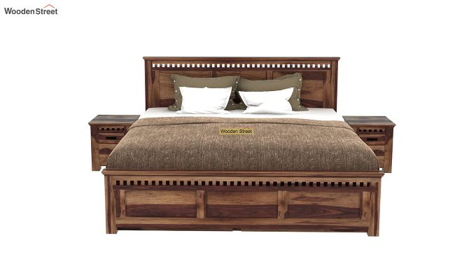 Adolph Bed With Side Storage (Queen Size, Teak Finish)-3