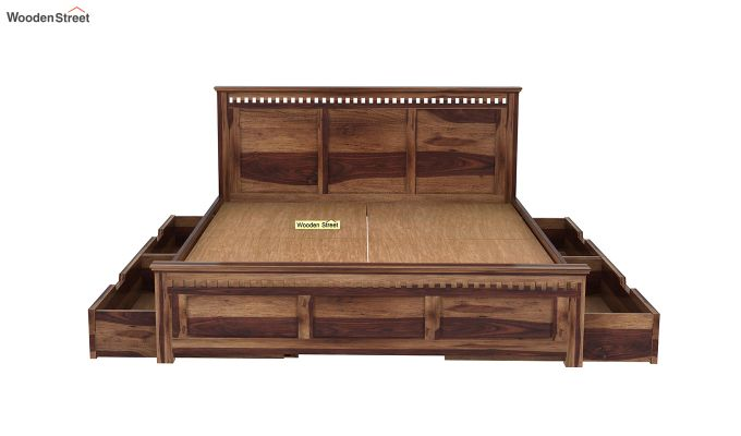 Adolph Bed With Side Storage (Queen Size, Teak Finish)-5