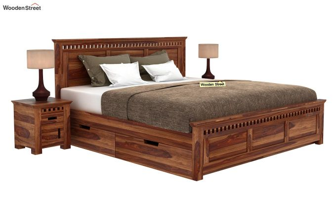 Adolph Bed With Side Storage (Queen Size, Teak Finish)-1