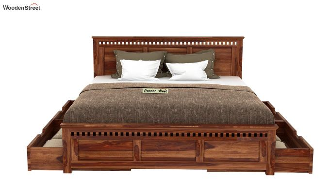 Adolph Bed With Side Storage (King Size, Teak Finish)-4