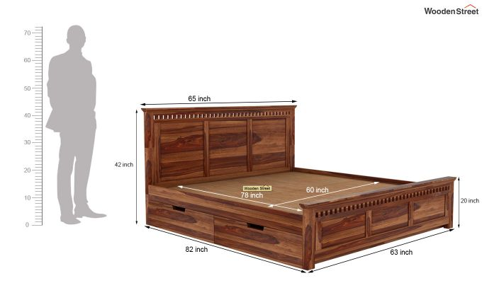 Adolph Bed With Side Storage (Queen Size, Teak Finish)-6