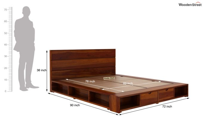 Adrian Bed With Drawer (Queen Size, Honey Finish)-6