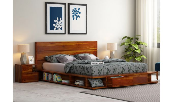 Adrian Bed With Drawer (King Size, Honey Finish)-1