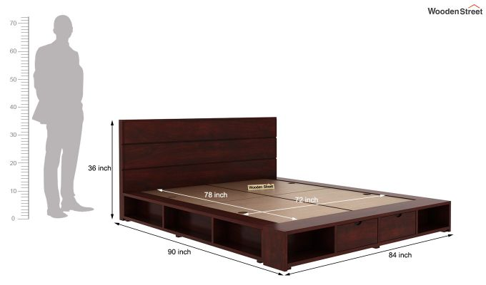 Adrian Bed With Drawer (King Size, Mahogany Finish)-7
