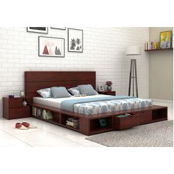 Adrian Bed With Drawer (Queen Size, Mahogany Finish)