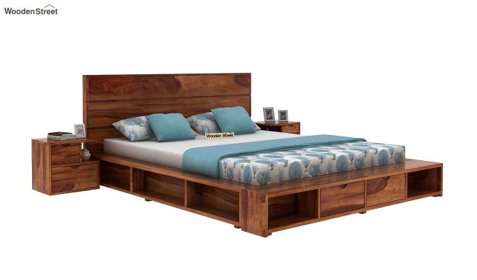 Adrian Bed With Drawer (Queen Size, Teak Finish)-1