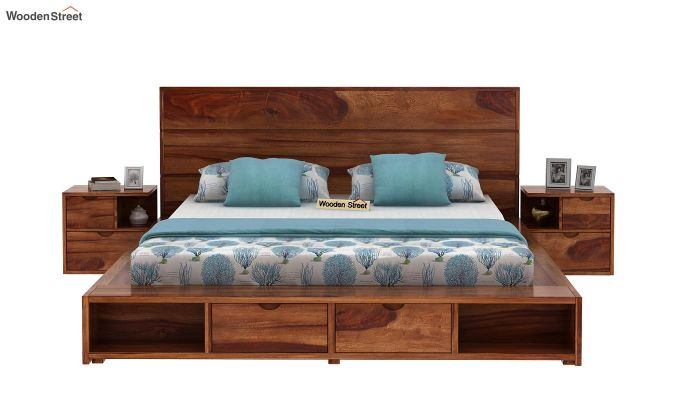 Adrian Bed With Drawer (Queen Size, Teak Finish)-2