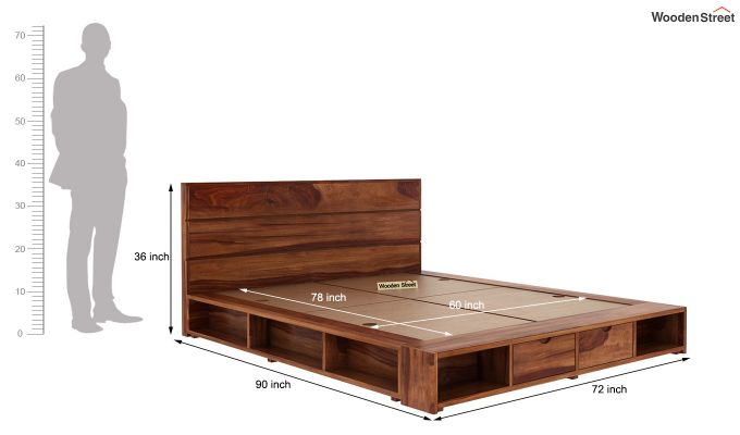 Adrian Bed With Drawer (Queen Size, Teak Finish)-6