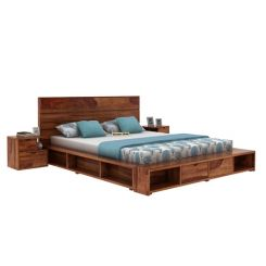Adrian Bed With Drawer (Queen Size, Teak Finish)