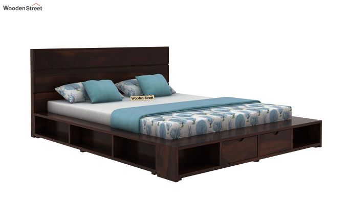 Adrian Bed With Drawer (Queen Size, Walnut Finish)-3