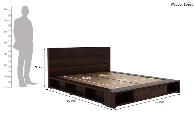 Adrian Bed With Drawer (Queen Size, Walnut Finish)-6