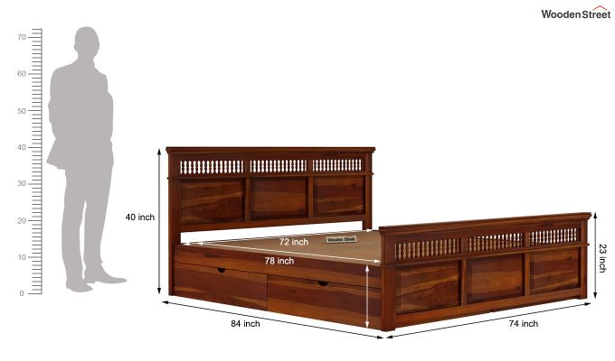Alanis Bed With Storage (King Size, Honey Finish)-8