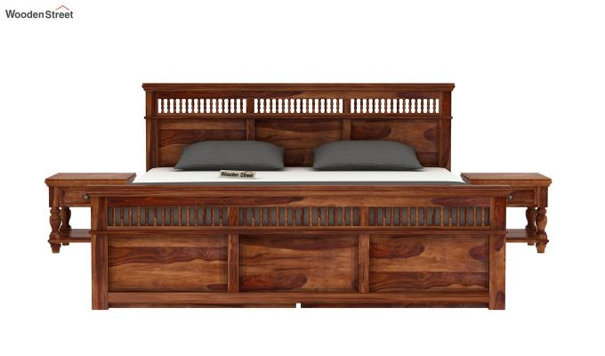 Alanis Bed With Storage (Queen Size, Teak Finish)-3