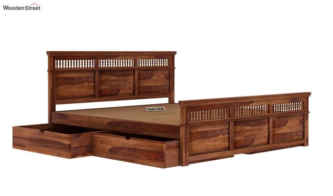Alanis Bed With Storage (Queen Size, Teak Finish)-6
