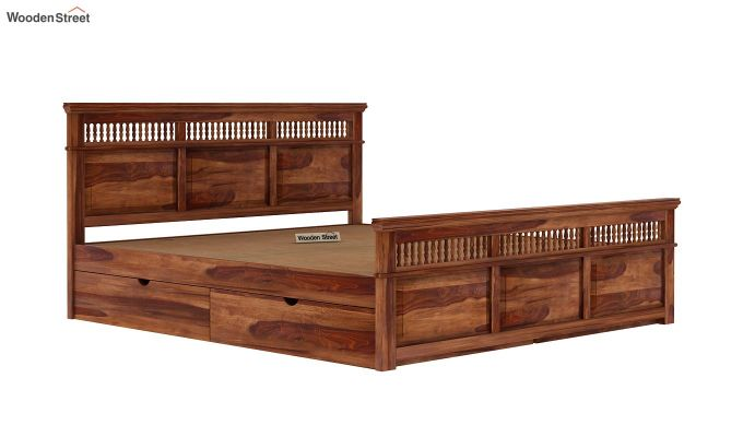 Alanis Bed With Storage (Queen Size, Teak Finish)-7