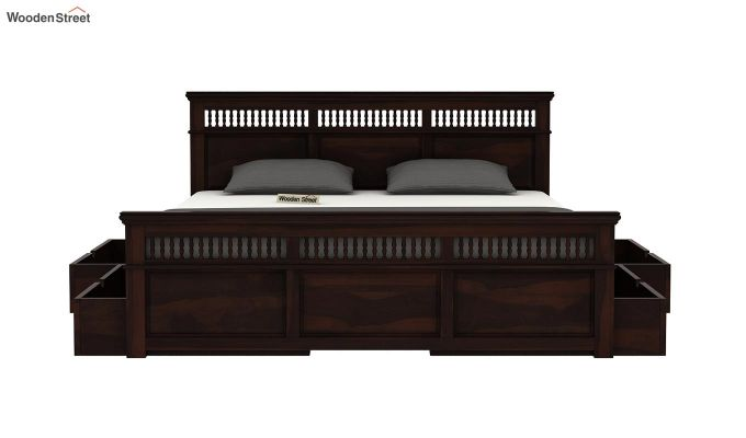 Alanis Bed With Storage (Queen Size, Walnut Finish)-5