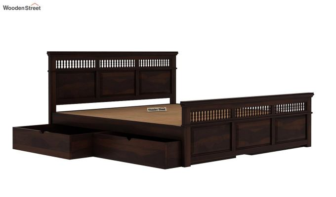 Alanis Bed With Storage (Queen Size, Walnut Finish)-6