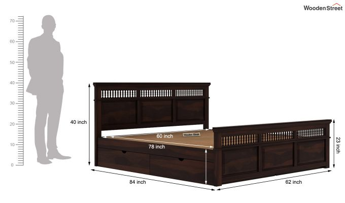 Alanis Bed With Storage (Queen Size, Walnut Finish)-8
