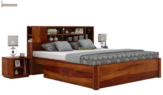 Alanzo Bed With Storage (Queen Size, Honey Finish)-2