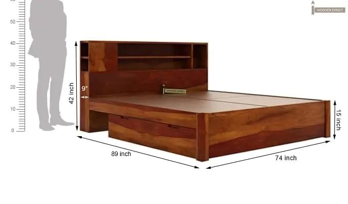 Alanzo Bed With Storage (King Size, Honey Finish)-9