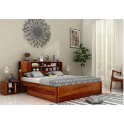 Alanzo Bed With Storage (Queen Size, Honey Finish)
