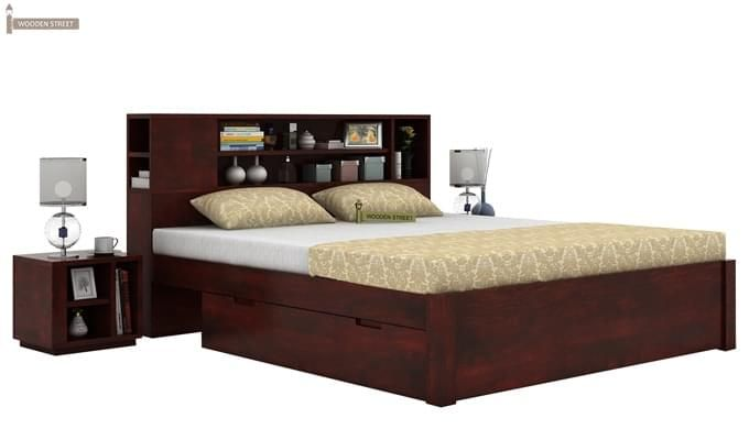 Alanzo Bed With Storage (Queen Size, Mahogany Finish)-2