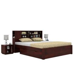 Alanzo Bed With Storage (Queen Size, Mahogany Finish)