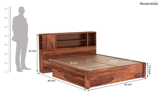 Alanzo Bed With Storage (Queen Size, Honey Finish)-9