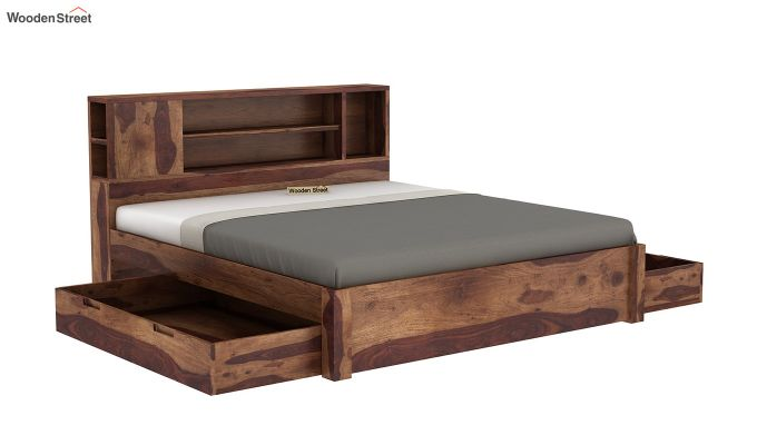 Alanzo Bed With Storage (King Size, Teak Finish)-4