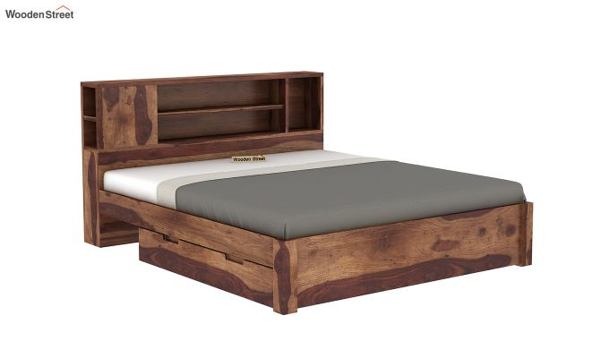 Alanzo Bed With Storage (King Size, Teak Finish)-6