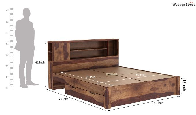 Alanzo Bed With Storage (Queen Size, Teak Finish)-9