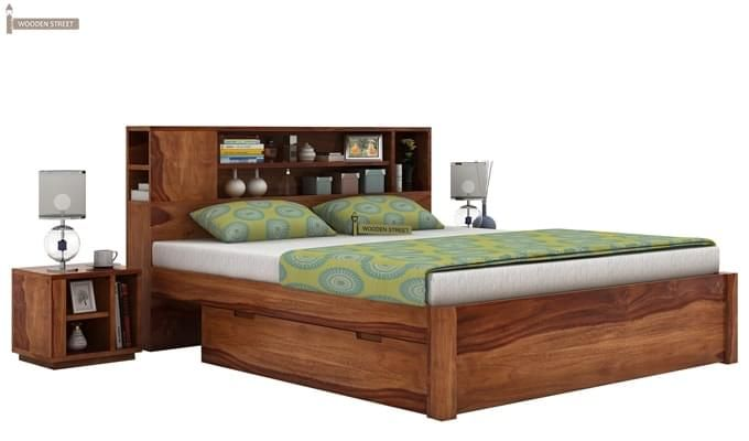 Alanzo Bed With Storage (Queen Size, Teak Finish)-1