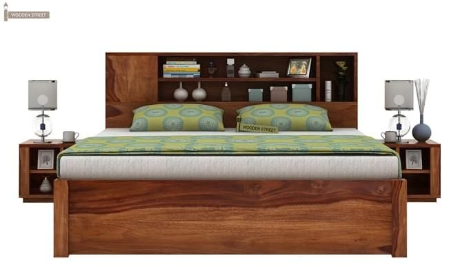 Alanzo Bed With Storage (Queen Size, Teak Finish)-2