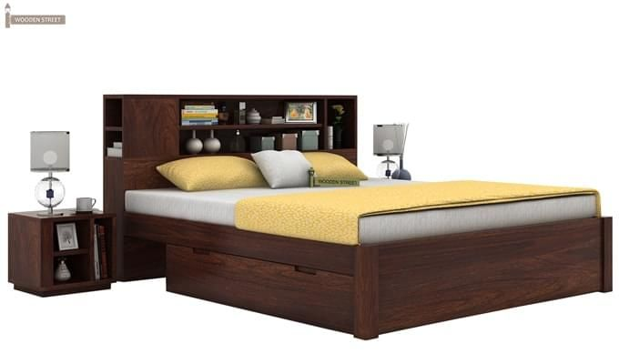 Alanzo Bed With Storage (Queen Size, Walnut Finish)-1