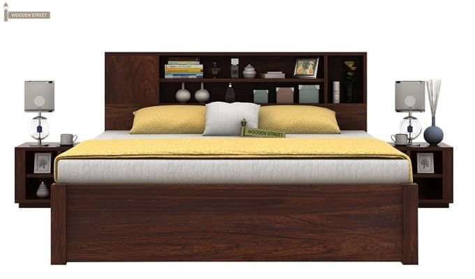 Alanzo Bed With Storage (Queen Size, Walnut Finish)-2