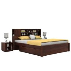 Alanzo Bed With Storage (Queen Size, Walnut Finish)